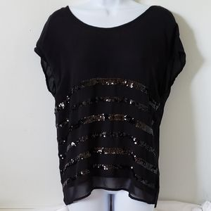 💖HP💖a.n.a Sequin Short Sleeve Sparkly Blouse Med